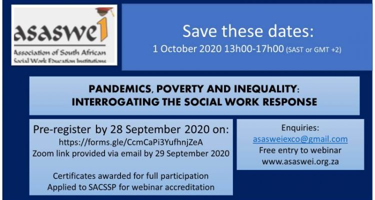Pandemics, poverty and inequality: interrogating the social work response