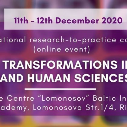 "9th International Research-to-Practice Conference ""Society Transformations in Social and Human Sciences"""