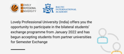 Lovely Professional University (India) Offers You the Opportunity to Participate in the Bilateral Students' Exchange Programme from January 2022 and has begun accepting Students from Partner Universities for Semester Exchange